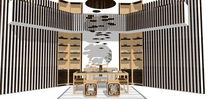 新中式日式现代茶室禅意设计SU模型(大礼包,内含七套茶室景观设计)(16)