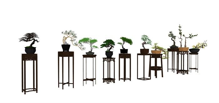 中式庭院室內花幾盆景SU模型素材資料(1)