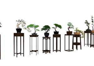 中式庭院室内花几盆景SU(草图大师)模型素材资料