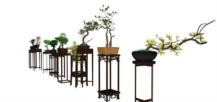 中式庭院室內花幾盆景SU模型素材資料(3)