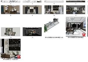 新中式室内设计素材SU(草图大师)模型资料包