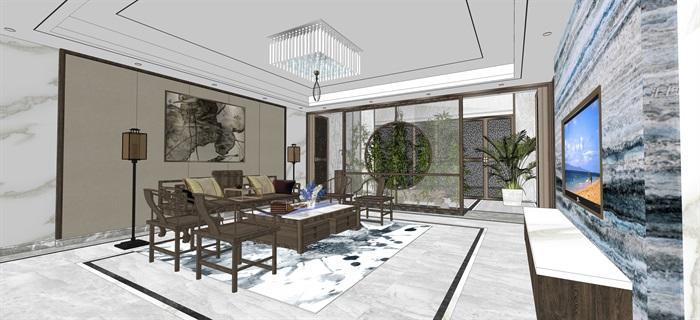 新中式室內設計素材su模型資料包(4)