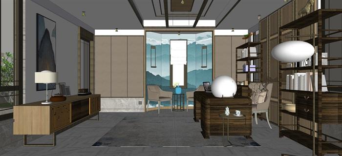 新中式室內設計素材su模型資料包(6)