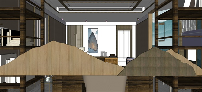 新中式室內設計素材su模型資料包(7)