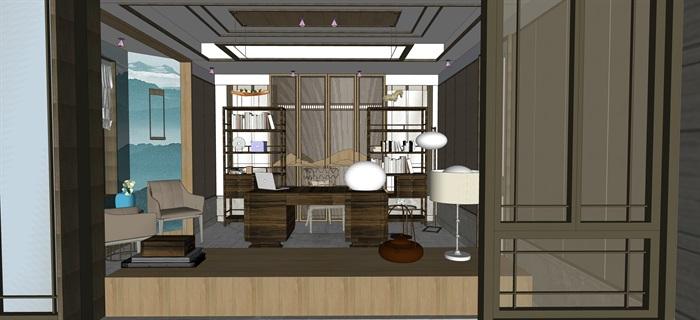 新中式室內設計素材su模型資料包(8)