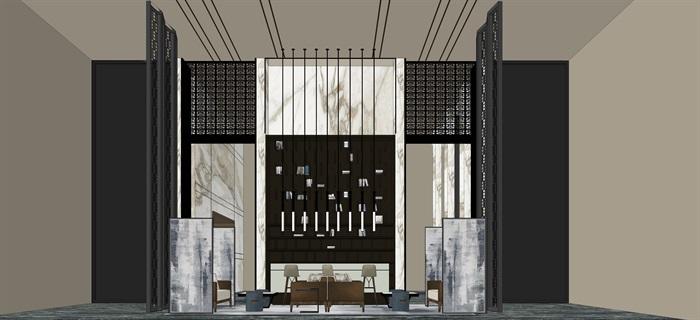 新中式室內設計素材su模型資料包(10)