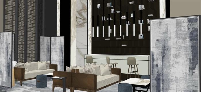 新中式室內設計素材su模型資料包(11)