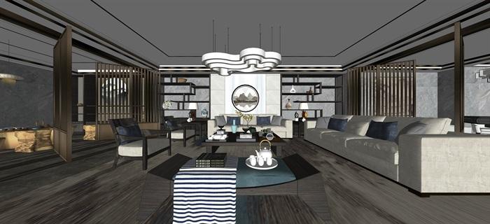新中式室內設計素材su模型資料包(12)