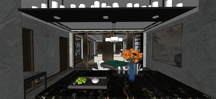 新中式室內設計素材su模型資料包(16)