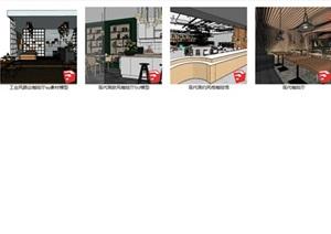 现代北欧风简欧风咖啡厅SU(草图大师)模型素材资料(内含5套方案)