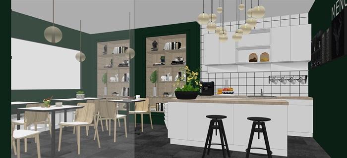 現代北歐風簡歐風咖啡廳SU模型素材資料(內含5套方案)(2)