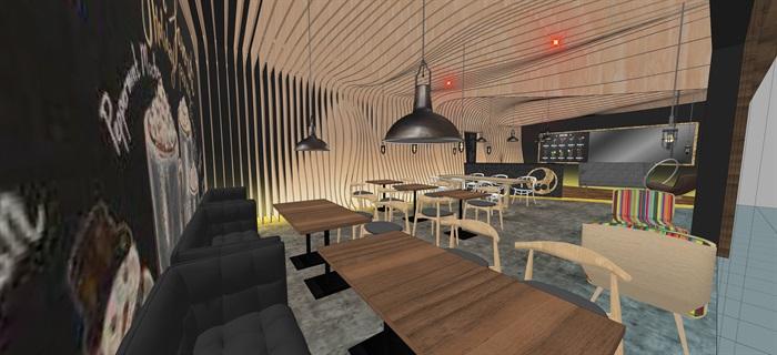 现代北欧风简欧风咖啡厅SU模型素材资料(内含5套方案)(3)