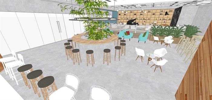 现代北欧风简欧风咖啡厅SU模型素材资料(内含5套方案)(4)