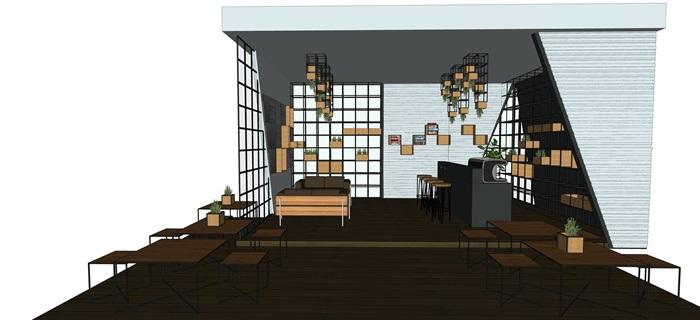 现代北欧风简欧风咖啡厅SU模型素材资料(内含5套方案)(5)