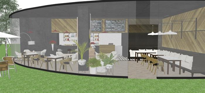現代北歐風簡歐風咖啡廳SU模型素材資料(內含5套方案)(6)