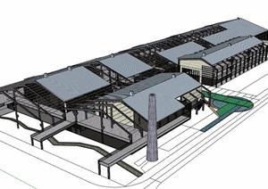 现代风格工业厂房详细设计SU(草图大师)模型