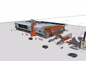 现代独特车站详细设计SU(草图大师)模型