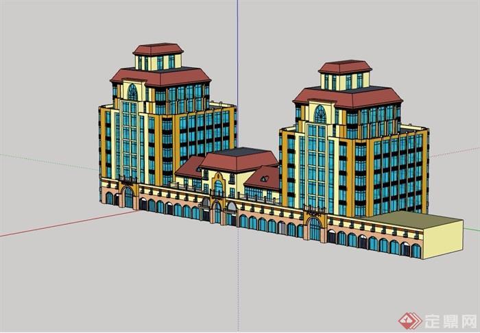 欧式风格多层商业办公楼详细设计su模型