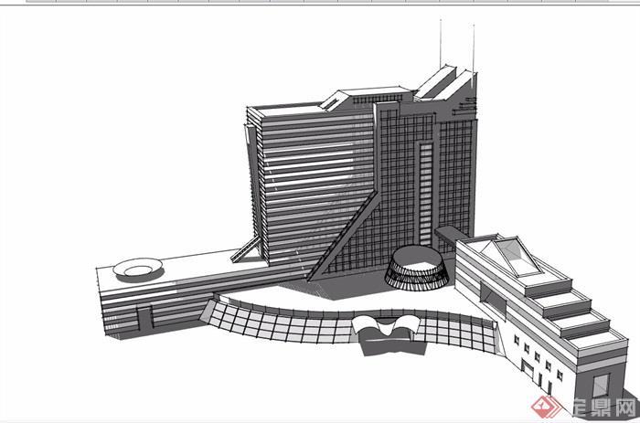 现代风格无材质贴图办公详细设计su模型