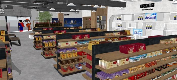 工業風設計超市貨架貨物擺件產品等(內含三套工業風超市設計)SU模型(4)