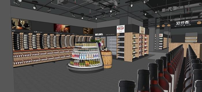 工業風設計超市貨架貨物擺件產品等(內含三套工業風超市設計)SU模型(7)
