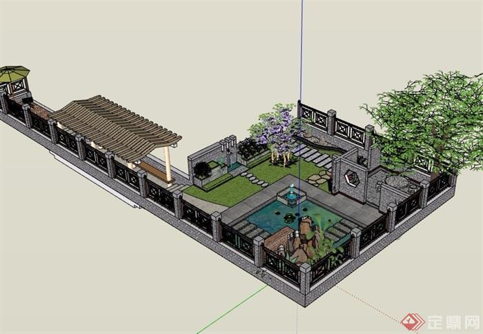 中式风格详细的小庭院景观详细设计su模型