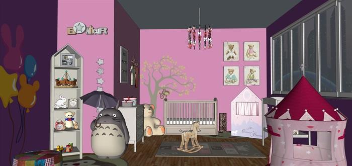 婴儿房室内设计su模型素材资料(1)