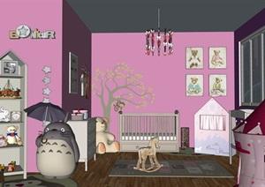 兒童房嬰兒房室內設計SU(草圖大師)模型素材資料