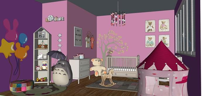 婴儿房室内设计su模型素材资料(2)
