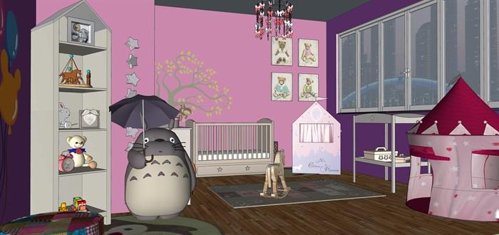 婴儿房室内设计su模型素材资料(3)