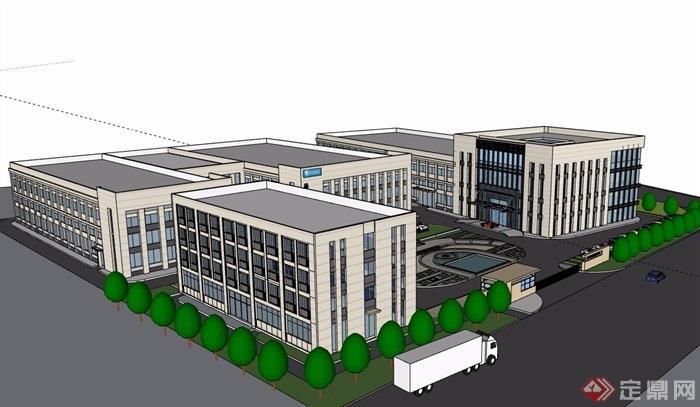 某现代风格详细的完整公司办公楼详细设计su模型