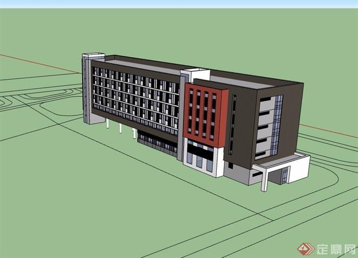现代风格独特详细的完整办公楼设计su模型
