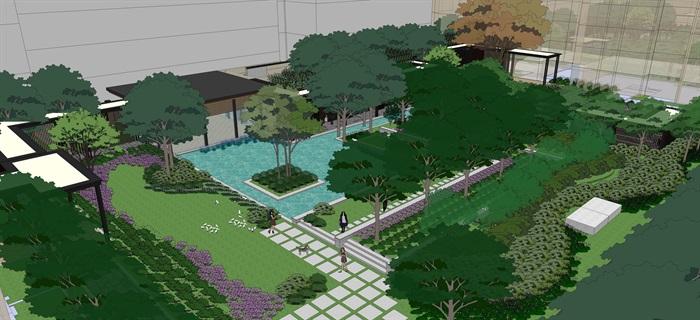 现代中式住宅景观设计方案su模型素材资料(3)