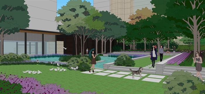 现代中式住宅景观设计方案su模型素材资料(4)