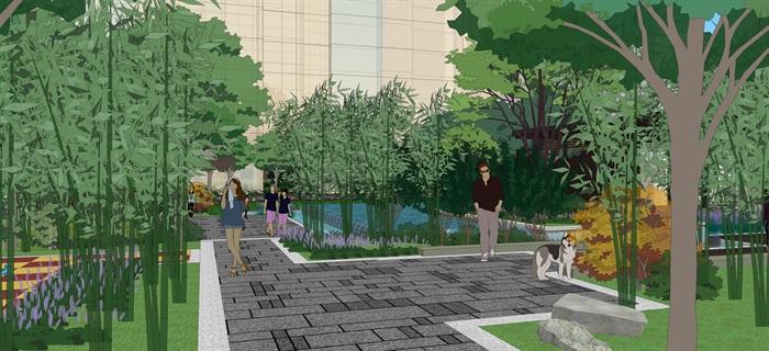 现代中式住宅景观设计方案su模型素材资料(6)