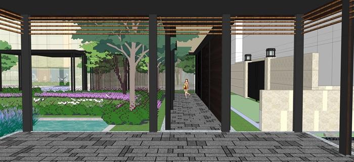 现代中式住宅景观设计方案su模型素材资料(8)