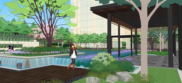 现代中式住宅景观设计方案su模型素材资料(9)
