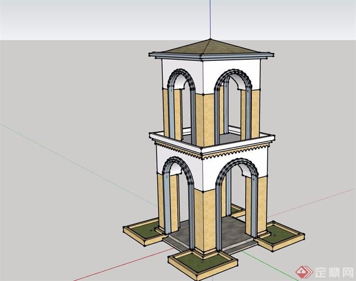 详细欧式风格亭子设计su模型