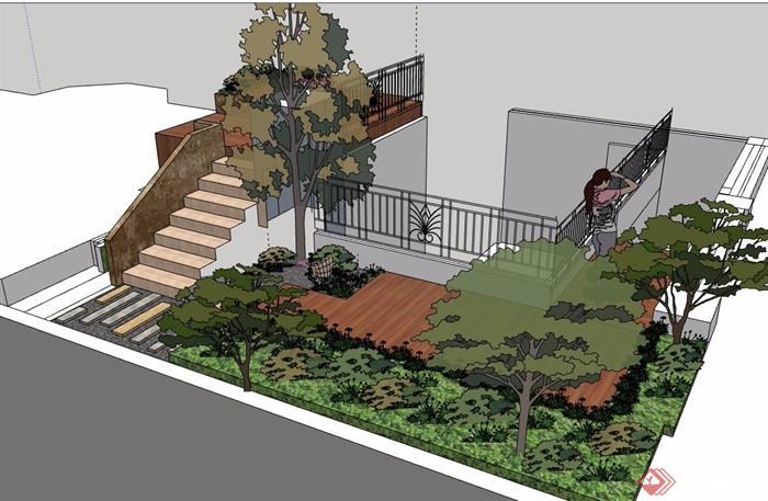 详细庭院景观设计su模型