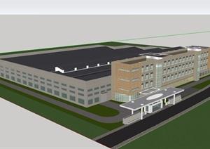 现代厂房厂区详细建筑设计SU(草图大师)模型