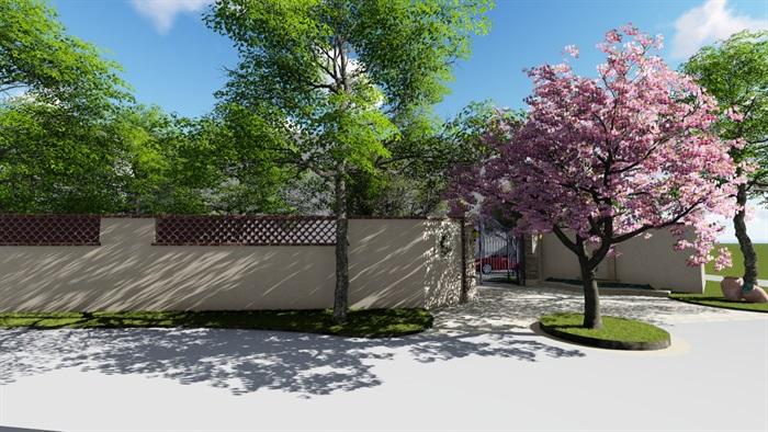 别墅庭院会所欧式景观设计su模型素材资料(1)