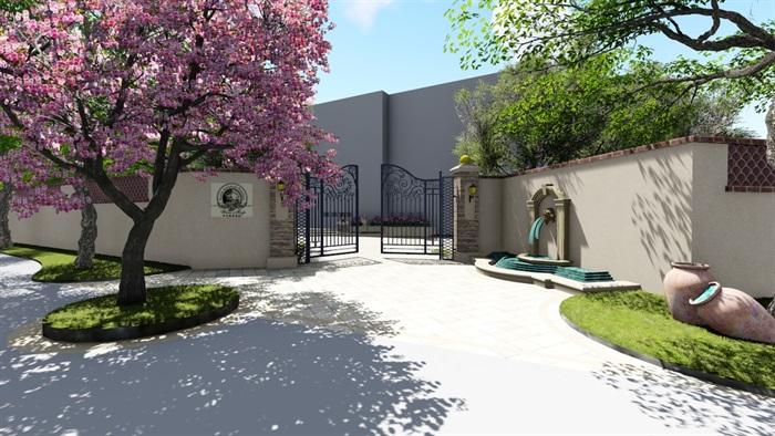 别墅庭院会所欧式景观设计su模型素材资料(2)