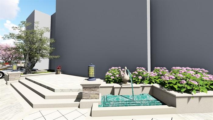 别墅庭院会所欧式景观设计su模型素材资料(4)