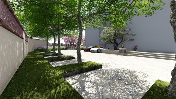 别墅庭院会所欧式景观设计su模型素材资料(6)