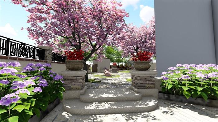 别墅庭院会所欧式景观设计su模型素材资料(7)