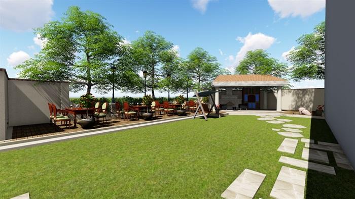 别墅庭院会所欧式景观设计su模型素材资料(10)