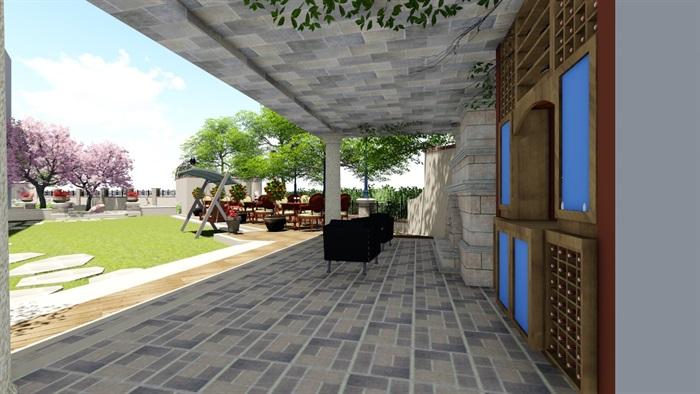 别墅庭院会所欧式景观设计su模型素材资料(12)