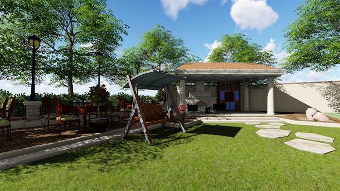 别墅庭院会所欧式景观设计su模型素材资料(13)
