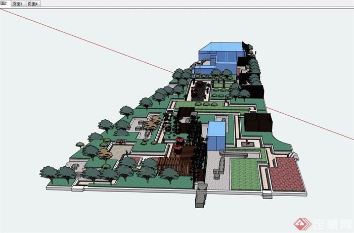 详细的屋顶花园景观详细设计su模型