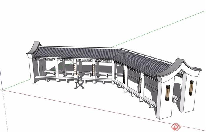 中式风格详细亭廊素材设计su模型